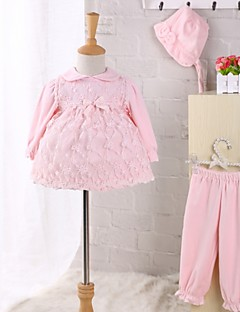 Baby Casual/Daily Solid Clothing SetLace Bow Winter Spring Fall 4-pc Set