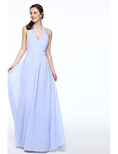 2017 Lanting Bride® Floor-length Chiffon Elegant Bridesmaid Dress - A-line Halter with Sash / Ribbon Pleats
