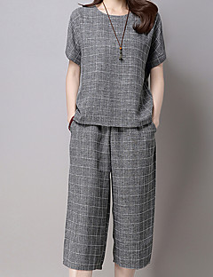 Women's Going out Casual/Daily Work Simple Cute Summer T-shirt Pant Suits,Geometric Round Neck Short Sleeve Others