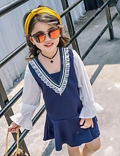 Menina de Vestido Patchwork Verão Algodão Poliéster Manga Longa