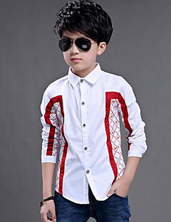 Boy Casual/Daily Plaid Patchwork Shirt,Cotton Spring Fall Long Sleeve Regular