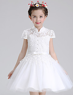 Ball Gown Short / Mini Flower Girl Dress - Cotton Lace Tulle High Neck with Bow(s) Buttons Sash / Ribbon