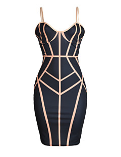 Women's Casual/Daily / Club Sexy / Street chic Bodycon DressPrint Backless Slim Strap Knee-length Sleeveless Summer Mid Rise