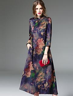 Damer Vintage I-byen-tøj A-linje Kjole Blomstret,Høj krave Midi 3/4 ærmelængde Silke Forår Sommer Alm. taljede Mikroelastisk Medium