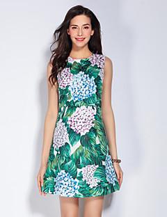 Damer Sødt I-byen-tøj A-linje Kjole Blomstret,Rund hals Over knæet Uden ærmer Grøn Polyester Forår Sommer Alm. taljede Uelastisk Medium