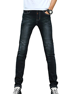 Men's Slim Jeans PantsCasual/Daily Simple Solid Mid Rise Button Cotton Polyester Micro-elastic All Seasons DG-2082