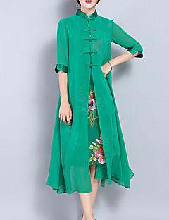 Bő Swing Ruha Női Vintage Alkalmi Nagy méretek,Egyszínű Állógallér Midi Fél hosszú ujjú Zöld Selyem Poliészter Tavaszi NyáriKözepes