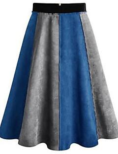נשים גזרת A בלוק צבע טלאים חצאיות,פָּשׁוּט יום יומי\קז'ואל,Midi גיזרה בינונית (אמצע) רוכסן כותנה אקרילי קשיחות קפיץ