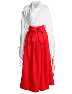 Inspirert av InuYasha Kikyo Anime Cosplay Kostumer Cosplay Suits / Japansk Kimono Ensfarget Hvit / Rød Langt Erme Topp / Bukser