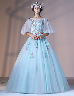 Formal Evening Dress Ball Gown Jewel Floor-length Lace Tulle Stretch Satin with Appliques Flower(s) Lace