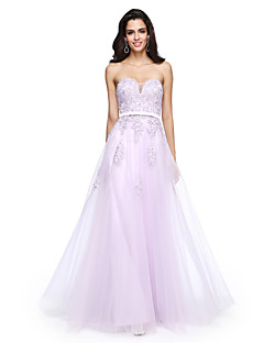 A-Şekilli Kalp Yaka Yere Kadar Tül Resmi Akşam Elbise ile Boncuklama Aplik Kurdeleler tarafından TS Couture®