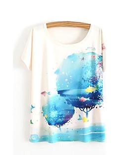 カジュアル/普段着 春 夏 Tシャツ,シンプル キュート ラウンドネック プリント ホワイト コットン 半袖 スモーキー