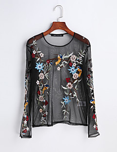 Women's Embroidery Going out Casual/Daily Cute Spring Summer T-shirt,Embroidered Round Neck Long Sleeve Cotton