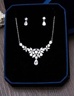 Kübik Zirconia Zirkon Gümüş 1 Kolye 1 Çift Küpe Için Düğün Parti Özel Anlar Günlük 1set Düğün Hediyeleri