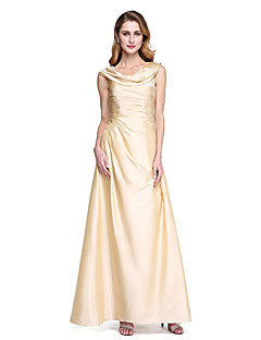 LAN TING BRIDE גזרת A שמלה לאם הכלה - גב פתוח אלגנטי עד הריצפה ללא שרוולים טפטה - קפלים