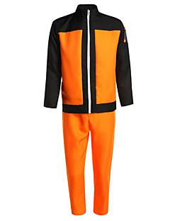Ihlette Naruto Naruto Uzumaki Anime Szerepjáték jelmezek Cosplay ruhák Kollázs Narancssárga Hosszú ujjú Kabát / Nadrágok