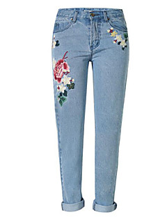 Dame Rett Tynn Jeans Bukser-Fritid/hverdag Vintage Gatemote Trykt mønster Mellomhøyt liv Knapp Polyester Mikroelastisk Fjær Vinter