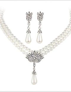 Conjunto de Jóias Cristal Casamento Jóias de Luxo Pérola Imitação de Pérola Strass Imitações de Diamante Liga 1 Colar 1 Par de Brincos