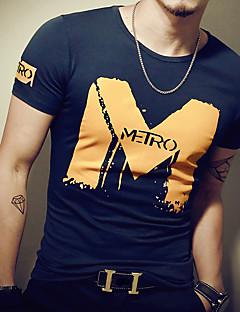 Tee-shirt Homme,Imprimé Décontracté / Quotidien Sportif simple Actif Toutes les Saisons Manches Courtes Col Arrondi Bleu Blanc NoirCoton