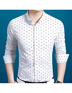 Men's Casual/Daily Simple Shirt,Polka Dot Shirt Collar Long Sleeve Blue White Silk Cotton