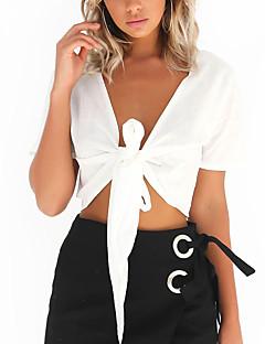 T-shirt Da donna Per uscire Casual Sensuale Semplice Autunno,Tinta unita A V Poliestere Bianco Nero Manica corta Medio spessore