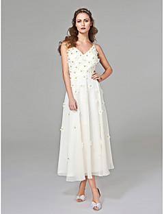 LAN TING BRIDE A-Linie Svatební šaty - Elegantní & moderní Open Back K lýtkům Do V Šifón s Korálky Květiny