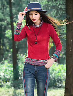 Dámské Jednobarevné Výšivka Běžné/Denní Dovolená Vintage Čínské vzory Tričko-Jaro Podzim Bavlna Podšívka Rolák Dlouhý rukáv Červená Černá