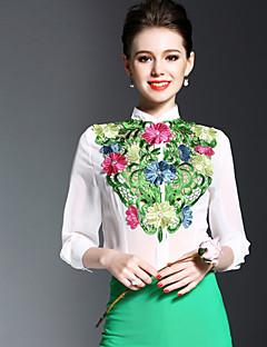 Dames Eenvoudig Lente Zomer Overhemd,Uitgaan Geborduurd Opstaand Lange mouw Polyester