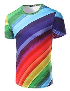 男性 カジュアル/普段着 ビーチ ホリデー Tシャツ,シンプル ラウンドネック プリント マルチカラー コットン 半袖