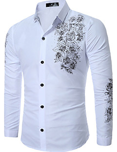 Men's Casual/Daily Plus Size Simple Spring Fall Shirt,Print Classic Collar Long Sleeves Cotton Medium