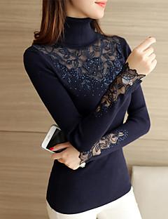 # 4138 vinter nye koreanske kvinner slanke blonder blomster strikke skjortekragen genser