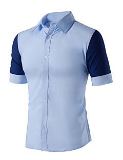 Kortærmet Krave Medium Herre Blå Hvid Farveblok Sommer Simpel Afslappet/Hverdag Skjorte,Bomuld