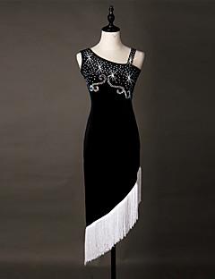 יהיה לנו שמלות ריקוד לטינית נשים ביצועים סטרץ אורגנזה קריסטלים / rhinestones / ציצית (ים) 1 השמלה שרוולים