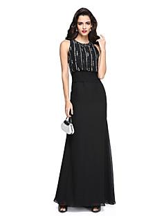 Sütun Taşlı Yaka Yere Kadar Şifon Resmi Akşam Elbise ile Boncuklama Kurdeleler Dantelalar tarafından TS Couture®