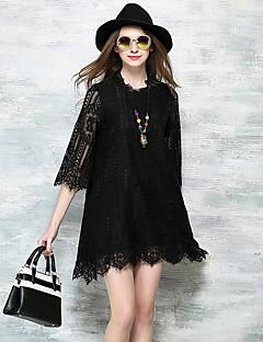 אביב קיץ כותנה לבן שחור אורך שרוול ¾ מעל הברך עומד אחיד פשוטה סגנון רחוב ליציאה חג שמלה תחרה נשים,גיזרה גבוהה מיקרו-אלסטי דק