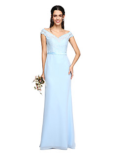 Sheath / Column Off-the-shoulder Floor Length Chiffon Lace Bridesmaid Dress with Sash / Ribbon by LAN TING BRIDE®