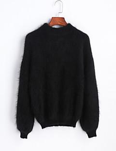 בינוני (מדיום) אביב חורף כותנה שרוול ארוך עומד אחיד וינטאג' סגנון רחוב Party ליציאה סוודר רגיל נשים מיקרו-אלסטי