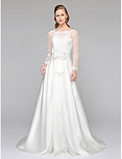 LAN TING BRIDE A-line Wedding Dress - Chic & Modern Two-Piece See-Through Court Train Jewel Lace Satin withAppliques Bow Button Sash /