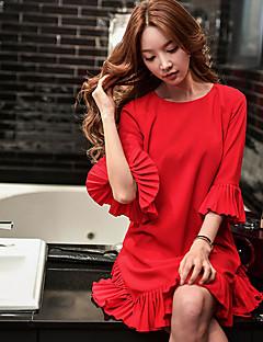Bő Egyenes Póló Ruha Női Vintage Utcai sikk Ízléses Casual/hétköznapi Szabadság Alkalmi,Egyszínű Kerek Térd feletti Fél hosszú ujjú Piros