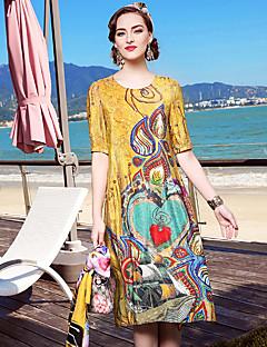 אביב קיץ משי כחול צהוב אורך חצי שרוול עד הברך צווארון עגול פרחוני פשוטה מתוחכם ליציאה יום יומי\קז'ואל חוף שמלה משוחרר נשים,גיזרה בינונית