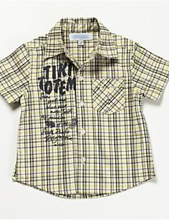 bebê Camisa-Casual Houndstooth-Algodão-Verão-Verde