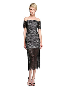 TS Couture Tea-length Off-the-shoulder Bridesmaid Dress - See Through Little Black Dress Short Sleeve Lace