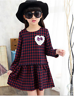 Girl's Holiday Solid Check Dress,Polyester Spring ¾ Sleeve