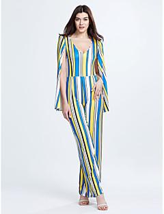 Dames Sexy Vintage Medium taille Recht Casual/Dagelijks Jumpsuits,Blote rug Gestreept Lente Herfst