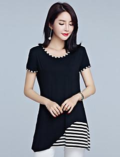 Feminino Camiseta Casual Tamanhos Grandes Simples Verão,Listrado Algodão Decote Redondo Manga Curta Média