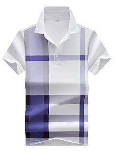 Men's Plus Size Casual/Daily Beach Simple Active Spring Summer Polo,Solid Check Shirt Collar Short Sleeve Cotton Polyester SpandexThin
