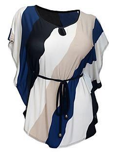 Damen Solide Einfarbig Einfach Lässig/Alltäglich T-shirt,Rundhalsausschnitt Sommer Kurzarm Baumwolle Dünn