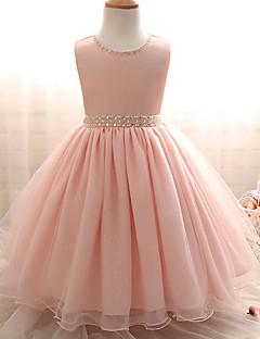 שמלה פוליאסטר קיץ סתיו ללא שרוולים יום יומי\קז'ואל אחיד הילדה של