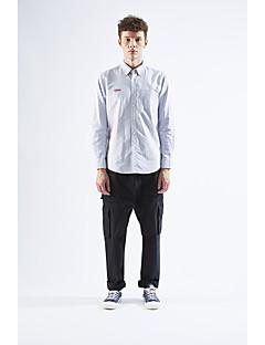 Masculino Camisa Social Casual SimplesSólido Algodão Colarinho de Camisa Manga Longa