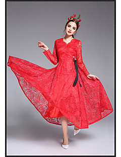 Women's Going out Swing Dress,Solid V Neck Maxi Long Sleeve Polyester Spring Mid Rise Micro-elastic Medium